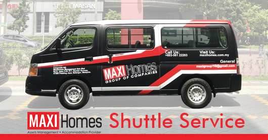 Maxihomes shuttle van public transport sunway subang shah alam free